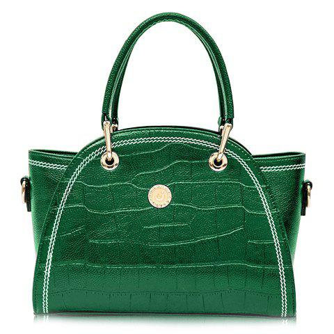 Fashionable Crocodile Print and PU Leather Design Tote Bag For Women - GREEN