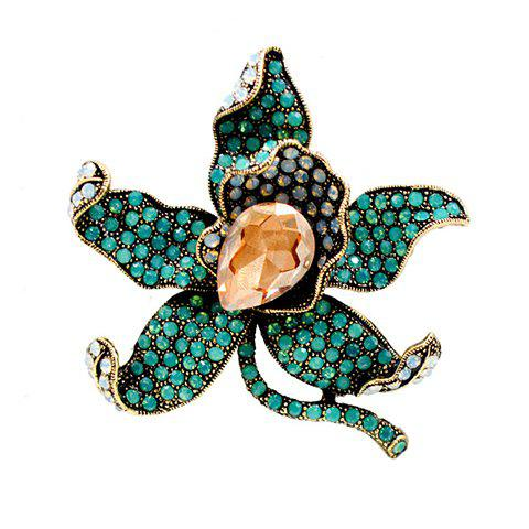 Exquisite Faux Crystal Rhinestoned Flower Shape Brooch For Women - GREEN