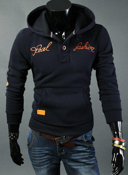Letters Embroidered Elbow Patch Hooded Long Sleeve Men's Hoodie - CADETBLUE 2XL
