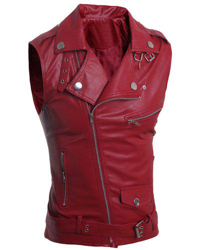 Turn-Down Collar Zipper Design Sleeveless PU-Leather Men's Waistcoat - RED L