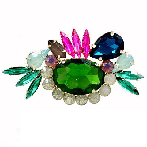 Charming Noble Faux Crystal Oval Brooch For Women - GREEN