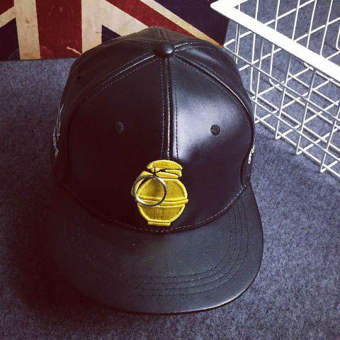 Stylish Keyring and Grenade Embroidery Decorated PU Baseball Cap For Men