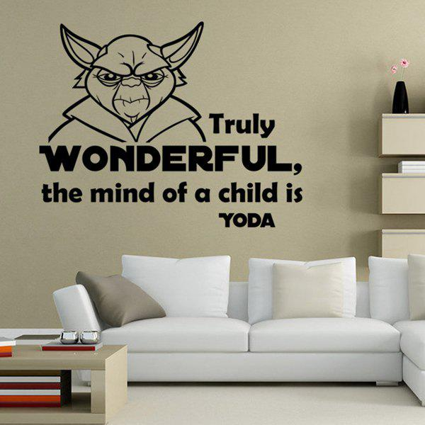 Stylish Letter and Character Design Wall Sticker - WHITE/BLACK