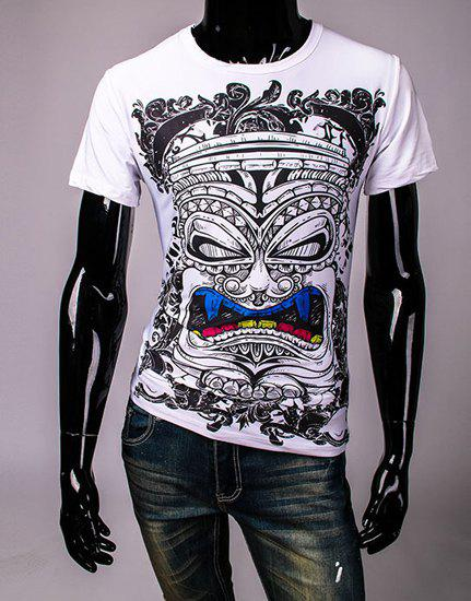Slimming Round Neck Cartoon Figure Mask Print Men's Short Sleeves T-Shirt