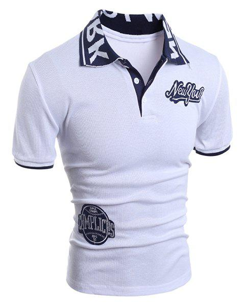 Applique Embellished Letters Jacquard Short Sleeves Polo Shirt - WHITE 2XL