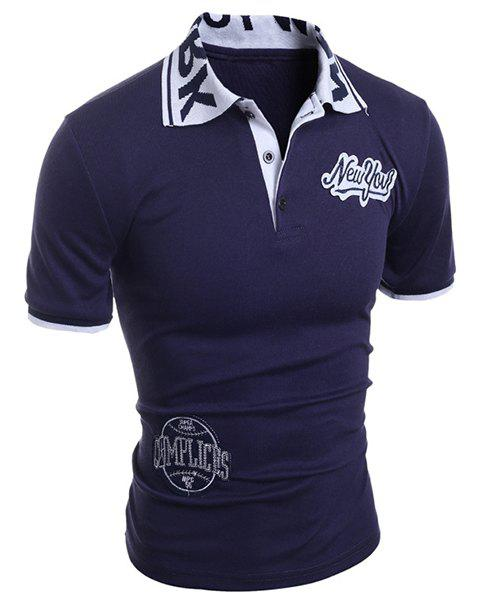 Applique Embellished Letters Jacquard Short Sleeves Polo Shirt - CADETBLUE L