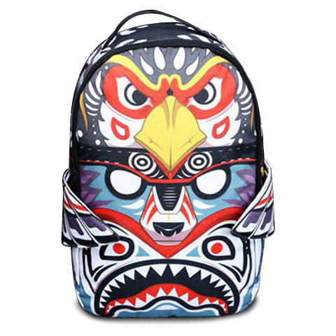 Trendy Multicolor and Canvas Design Women's Backpack - BLACK