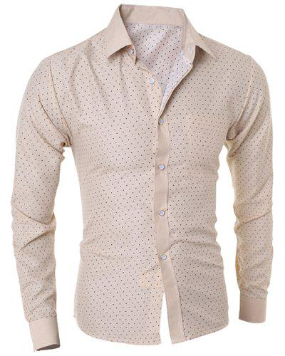 Splicing Design Turn-Down Collar Long Sleeve Men's Shirt - OFF WHITE M