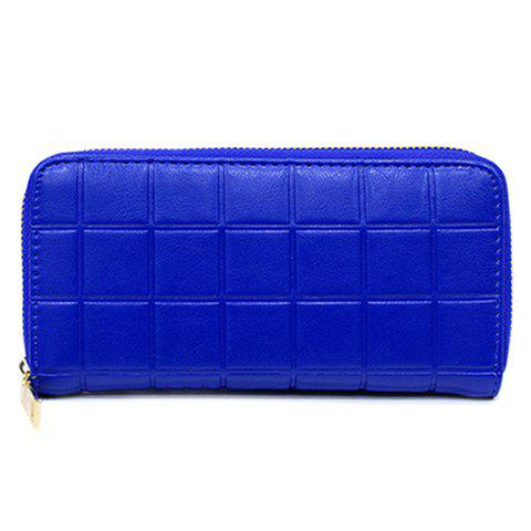 Fashion PU Leather and Plaid Design Wallet For Women - BLUE