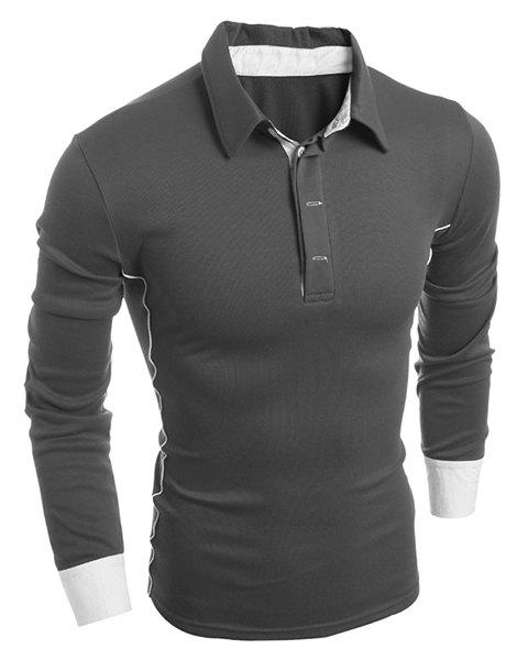 Turn-Down Collar Color Block Splicing Slimming Long Sleeve Men's T-Shirt - GRAY L