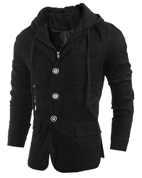 Drawstring Hooded Faux Twinset Patch Pocket Long Sleeve Men's Jacket - BLACK L