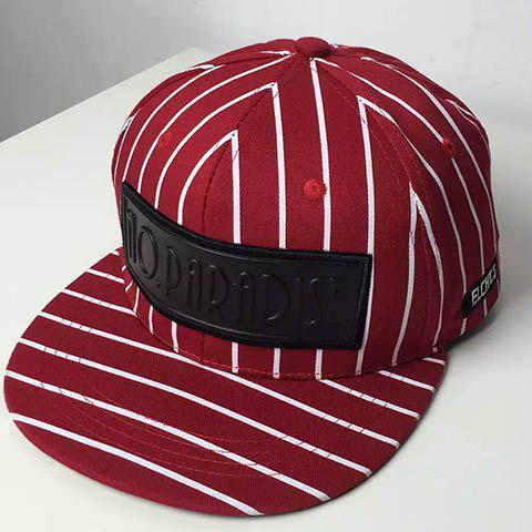 Stylish Letters Rubber Label Embellished Men's Striped Baseball Cap - RED