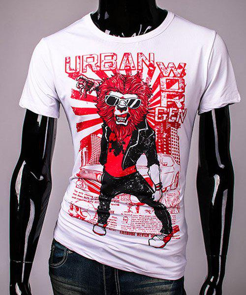 Cool 3D Orc and Letters Print Slimming Round Neck Short Sleeves Mens T-ShirtMen<br><br><br>Size: L<br>Color: WHITE