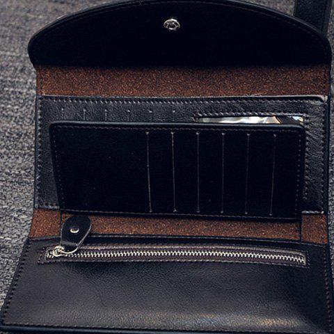 Fashion Crocodile Print and PU Leather Design Flap Wallet For Women - BLACK