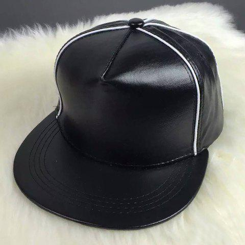 Stylish Stripy Embellished Men's PU Baseball Cap - BLACK