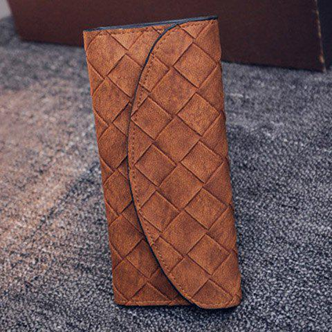 Vintage PU Leather and Weaving Design Flap Wallet For Women