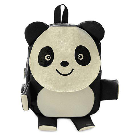 Cute Panda Shape and PU Leather Design Women's Satchel -  BLACK