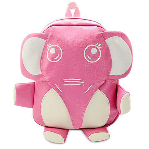 Cute Elephant Shape and PU Leather Design Women's Satchel - PINK
