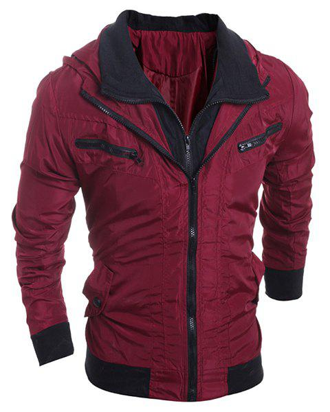 Turn-Down Collar Rib Splicing Zipper Pocket Long Sleeve Men's Jacket - RED L