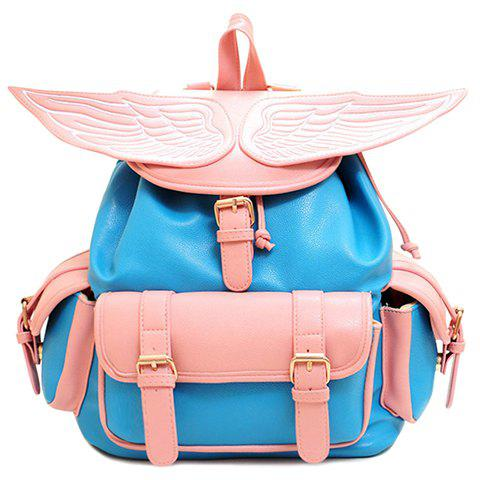 Stylish Wings and Color Block Design Women's Satchel - BLUE