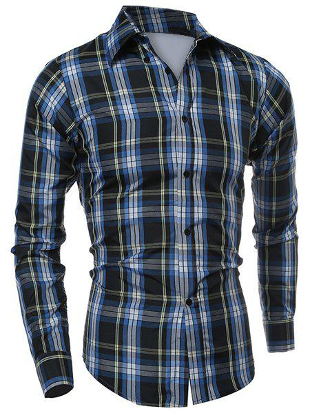 Casual Turn-down Collar Classic Color Block Plaid Pattern Long Sleeves Men's Slimming Shirt - CHECKED M
