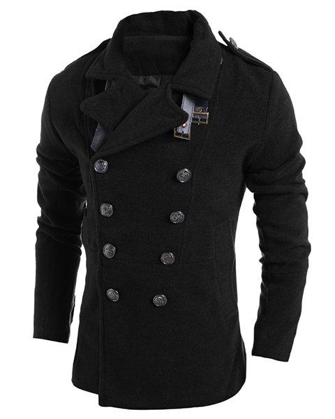 Turn-Down Collar Epaulet Design Fake Belt Back Slit Design Long Sleeve Men's Woolen Blend Coat - BLACK 2XL