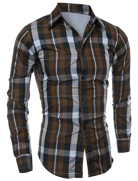 Casual Turn-down Collar Color Block Checked Print Slimming Men's Long Sleeves Shirt 2 2 plating beadlock wheel