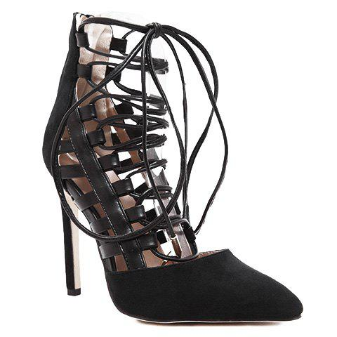 Trendy Hollow Out and Lace-Up Design Pumps For Women - BLACK 37