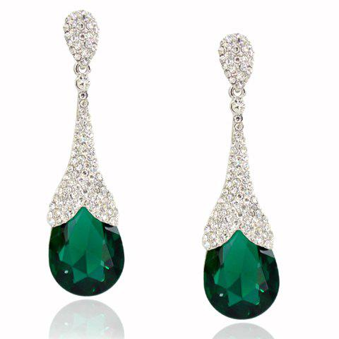 Pair of Chic Faux Crystal Rhinestoned Pipa Shape Earrings For Women - GREEN