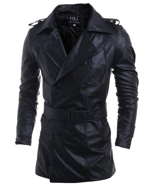 Turn-Down Collar Double-Breasted Belt PU-Leather Long Sleeve Men's Jacket - BLACK M