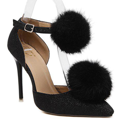 Stylish Pompon and Pointed Toe Design Women's Pumps - BLACK 40