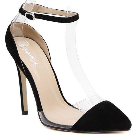 Stylish Two-Piece and Flock Design Pumps For Women - BLACK 36