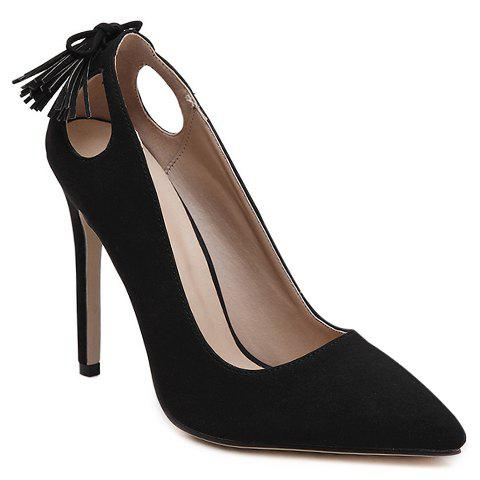 Sweet Tassels and PU Leather Design Pumps For Women - BLACK 37