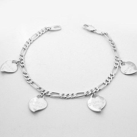 Charming Solid Color Heart Pendant Bracelet For Women - SILVER
