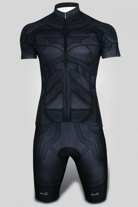 Slim Fit Stand Collar Geometric Shapes Zipper Short Cycling Suits (Jersey+Pants) For Men - GRAY L
