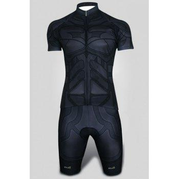 Slim Fit Stand Collar Geometric Shapes Zipper Short Cycling Suits (Jersey+Pants) For Men