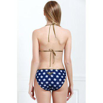 Sexy Sleeveless Halter Star Pattern Women's Wander Woman Swimwear - BLUE M