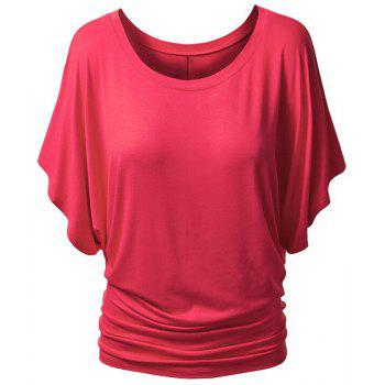 Sweet Women's Scoop Neck Candy Color Half Sleeve T-Shirt