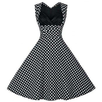 Retro Style Women's Sweetheart Neck Polka Dot Print Dress - BLACK XL