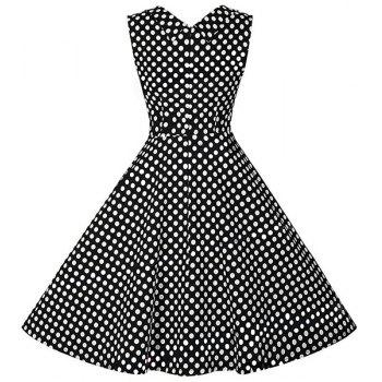 Retro Style Women's Sweetheart Neck Polka Dot Print Dress - XL XL