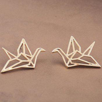 Pair of Paper Crane Hollow Out Earrings