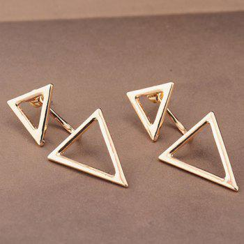 Asymmetric Triangles Hollow Out Earrings - GOLDEN