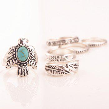 A Suit of Faux Turquoise Dove Leaf Carving Rings