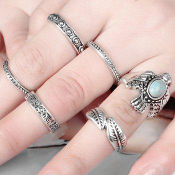 A Suit of Faux Turquoise Dove Leaf Carving Rings - SILVER ONE-SIZE