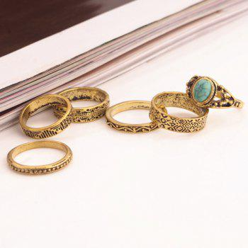 A Suit of Vintage Turquoise Carving Rings For Women - GOLDEN ONE-SIZE