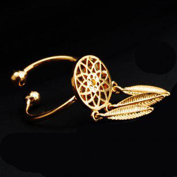 Hollow Out Round Feather Shape Pendant Ring