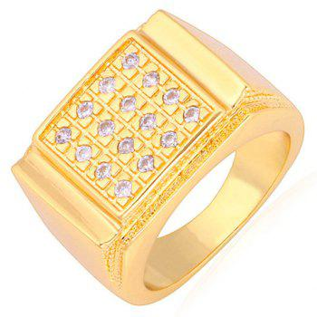 Rhinestoned Square Shape Ring - GOLDEN GOLDEN