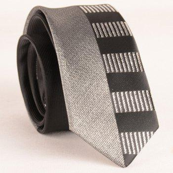 Stylish Silver Thread Wide Stripe Pattern 6CM Width Men's Black Tie