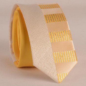 Stylish Silver Thread Wide Stripe Pattern 6CM Width Men's Yellow Tie
