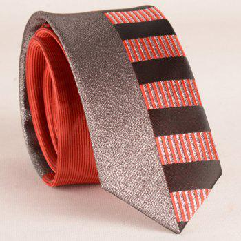 Stylish Silver Thread Wide Stripe Pattern 6CM Width Men's Red Tie